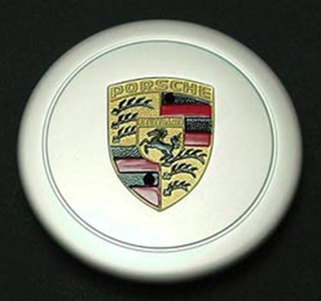 Porsche Anodized Cap for Fuchs Wheel, Hand-Painted Crest